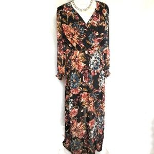 Eci // Floral Long Sleeve Faux Wrap Maxi Dress 4